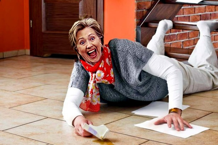 Hillary falling off the stairs