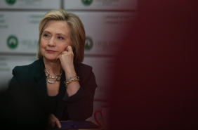 Democratic presidential hopeful and former Secretary of State Hillary Clinton during a roundtable discussion with members of the small business community at Capital City Fruit on April 15, 2015 in Norwalk, Iowa. Hillary Clinton continues to campaign throughout Iowa as she makes her second bid for President of the United States.