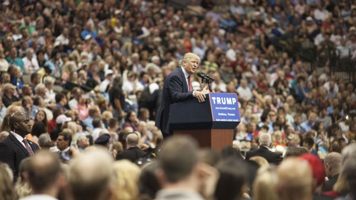 Donald Trump speaks during a campaign rally at the American Airlines Center in Dallas Monday